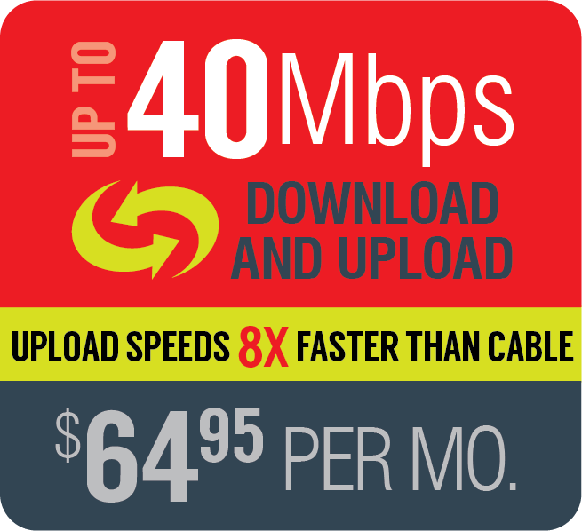 Broadband up to 40Mbps $64.95